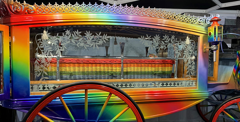 Personalised funerals - Our Rainbow coffin